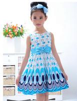 TuTu Summer Ball Gown 2014 Kids Girls Dress cute peacock color sleeveless princess dress circle Korean Fashion Blue children's clothing