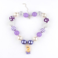 Wholesale Chunky Necklace with Cartoon Princess Pendants DIY Acrylic Gumball Beads Baby Girl Kid Children Necklace Handmade Necklace