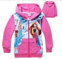 Spring / Autumn full zip hoodie - 2014 Frozen hoodies for girls full zip childrens jacket yrs kids top coats hoodies cartoon style kids autumn clothing