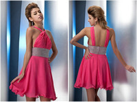 Reference Images Chiffon Halter Diyouth High Quality Chiffon Halter Neck Sexy Short Beading Backless Custom Made Cocktail Dresses Cheap Short Homecoming Gowns