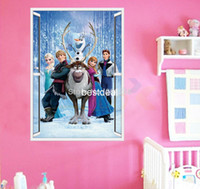 Wholesale Frozen Movie Wall Stickers Home Decor Window Wall Cartton Vinyl Wall Stickers Removable d Wall Decals Art Of Frozen ZooYoo1419