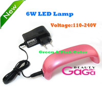 Wholesale Professional Nail Art Suppy New Hot US EU Plug V V Voltage Mini W Green Pink UV Gel Polish Lamp LED Nail Dryers