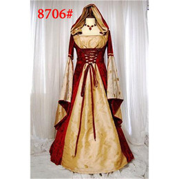 Wholesale Medieval Gown Renaissance Cosplay Costumes Orange and Red Noble Cloak Costumes Fancy Party Dress High Quality