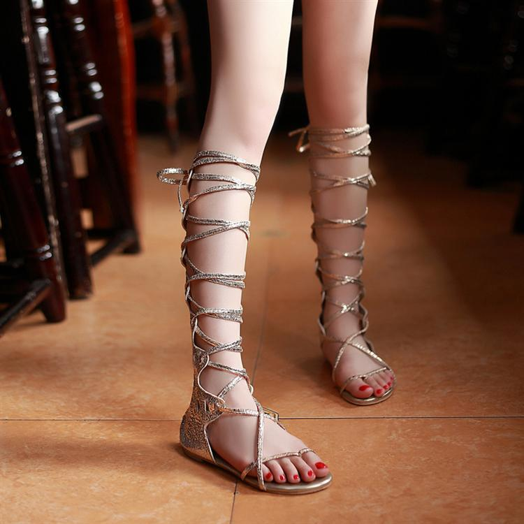 Sexy Gladiator Bandage Sandals Golden Silver Knee Sandalsflat