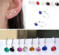 Wholesale 12 pc Fashion Wedding Jewelry Gifts No pierced ear clip cuff earrings Colorful Rhinestone Earrings Flower Earrings E9015