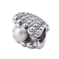 Wholesale Hot Sale Sterling Silver Threaded Shell Pearl Bead Charm Fit Pandora Bracelets