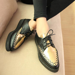 2014 Fashion British Goth Punk Creepers Flats Hot Sale women lace up pointed platform Shoes Spring Summer,Free Shipping,XWD331