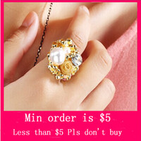 Wholesale Min Order Mix Jewelry order Hot Ring opening of Pearl Diamond Rose Ring women ring D0151