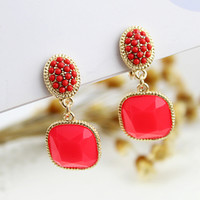Clip-on & Screw Back clip on earrings - Hot sale fashion designer rhinestone colorful clip earrings