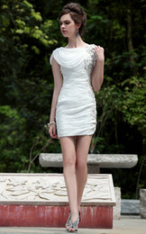 Wholesale New Arrival Cocktail Dresses White Sheath Scoop Neck Hand Made Flower With Short Sleeve Mini Chiffon Homecoming Dresses