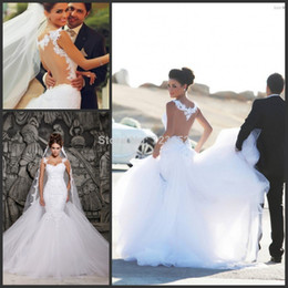 Wholesale 2014 Designer White Lace Applique Beading See Through Tulle Back Beach A line Wedding Dresses With Removable Train Bridal Dresses