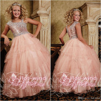 Reference Images ball gown flower girl dresses - crystal ball gown flower girls dresses asymmetrical strap neckline floor length long lace up back girl s pageant dresses TF13389