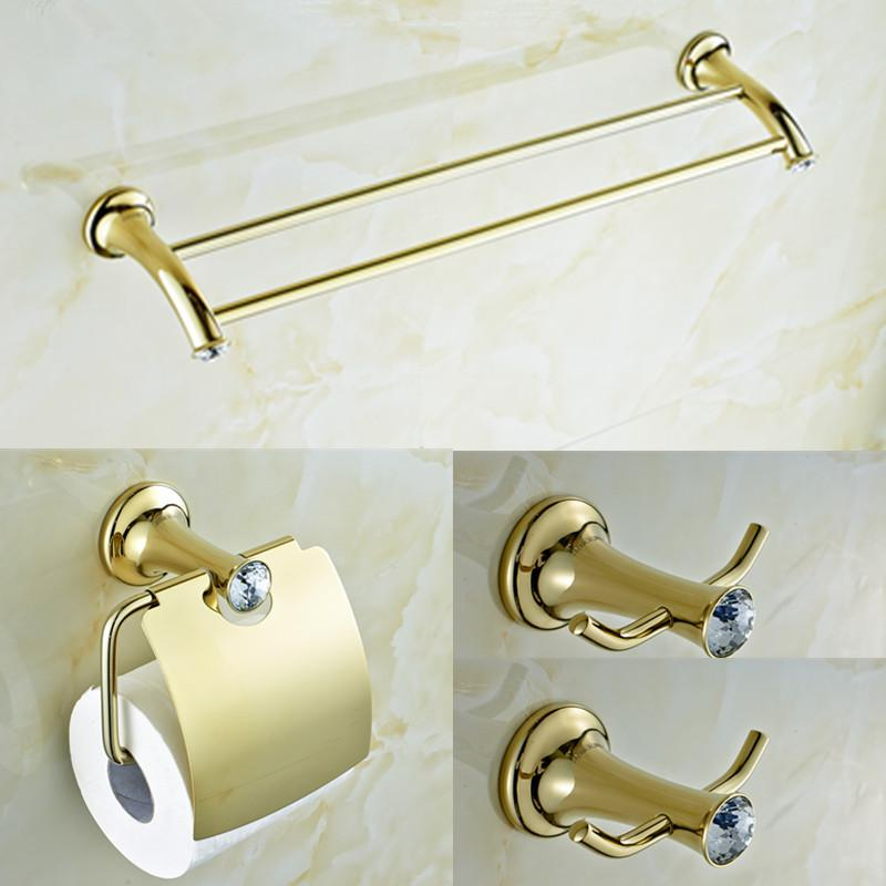 2017 Gold Plating Brass And Crystal Bathroom Accessories Set Double Towel Bar And Towel Ring And