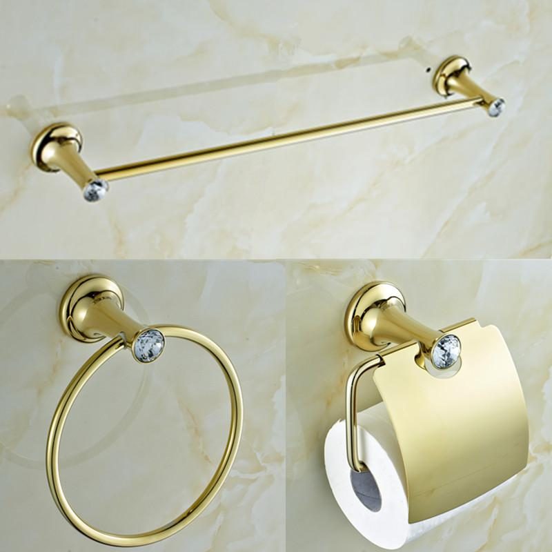 2017 Gold Plating Brass And Crystal Bathroom Accessories Set Single Towel Bar And Towel Ring And