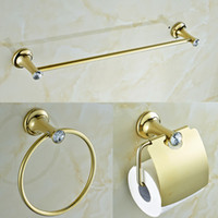 Wholesale Gold plating Brass and Crystal Bathroom Accessories Set Pieces Single Towel Bar and Towel Ring and Tissue Holder A5100