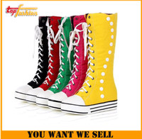 Wholesale 2014 New Fashion Flat Heels Knee High Canvas Boots Round Toe Soft Leather Winter Martin Boots Knot color RH218