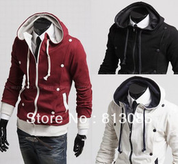 Wholesale 2013 New Slim Top Designed Casual Men s Winter Jacket Double breasted Outdoors Hoodied Outwear Size Colors