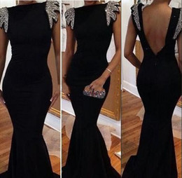 Sexy Mermaid Prom Dress Black Satin Bateau Backless Short Beaded Sleeves Prom Dresses Backless Sleeves Mermaid Evening Dresses