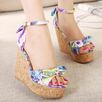 Women Spool Heel PU 2014 New design Summer Countryside Women Wedge sandals Elegant Fashion Casual Bowtie Print Purple Red women pumps QL4238