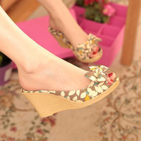 Women Spool Heel PU 2014 New Summer Fashion Sweets Women shoes Sandals Wedges Flower Bowtie Black Red Khaki Slides Rubber Open Platforms QL4293