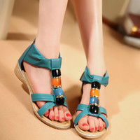 Cheap 2014 New arrival Elegant Sweets Fashion Summer Women's Sandals Solid Beading Cover Heel Blue Beige Red Wedge sandals QL4048