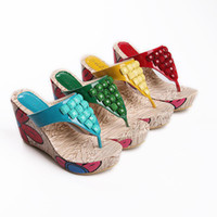 Cheap 2014 New arrival Elegant Sweets Fashion Summer Women Wedges sandals String Bead Red Blue Yellow Green Size 34-39 QL4070