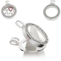 Lockets Unisex Wedding 20pcs Hollow Floating Charm Locket Pendants Rhinestone Round Silver Plated ( WITHOUT GLASS)