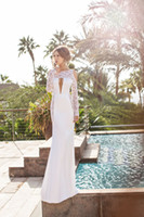 Wholesale 2014 Julie Vino Beach Wedding Dresses Crew Neck Sheer Long Sleeve Backless Floor Length Summer Vintage Sheath Bridal Gowns JV7131