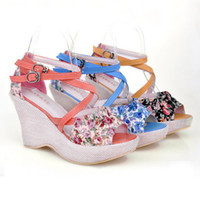 Women Spool Heel PU Brand New Summer Flower Fabric Women's Sandals Solid Elegant Sweets Print Buckle Strap Platform Wedges Red Black Blue QL3944