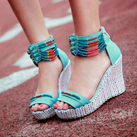 Cheap 2014 Cool New Elegant Sweets Fashion Summer Women's Sandals Solid Beading Fretwork Wedges Red Blue Beige QL3943