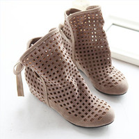 Half Boots Women Summer 2014 New Summer Ankle boots for women Inside wedge heels Cutout Sandals Hot sale Big size 34-43 Beige Red Black Fashion QL4141
