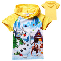 Wholesale 2014 New Baby Frozen Boy Olaf T Shirt Kids Summer Short Cotton T shirt Girls Jumper Top Cartoon Hoodies Color Children Sport Clothing