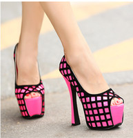 Wholesale Lowest Price Gride Design fluor pink stiletto heel dress shoes peep toe high platform pumps sexy ladies Nightclub dance shoes