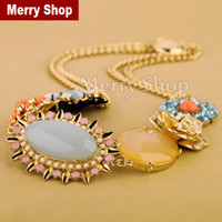 Chains Fashion Necklaces 2014 High Quality Women Big Fashion Chain Necklace Costume Choker Flower Necklaces & Pendants Luxury Statement Jewelry (MSPN034)