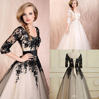 A-Line Reference Images Scoop 2014 A Line Short Wedding Dresses Lace Appliques Half Long Sleeves Illusion Ankle Length Formal Bridal Gowns Sash Prom Dress