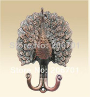 Wholesale 2pcs After the European curtain hooks wrought iron wall hooks coat hooks door hooks peacock