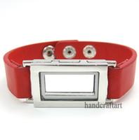 Wholesale 6PCS Floating charm locket Leather Bracelet Square magnetic glass Fashion bracelet Mix Color Zinc Alloy