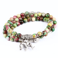 Wholesale Beautiful Multilayer Agate stone Gem Charm Elephant Pendants Stretch Prayer Bracelet New jewelry