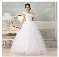 Wholesale 2015 new arrival white fashion cap sleeve V neck appliqued beading sexy Tulle floor length ball gown wedding dress bridal gowns