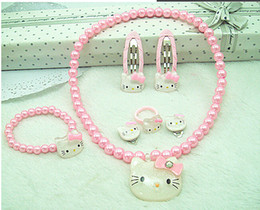 Wholesale Children s jewelry suit necklace ring bracelet earring hairpin pearl cartoon baby jewelry cheap jwellery sets WJ