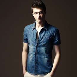 Wholesale 2014 European Style Men s short Sleeve Slim Jeans Shirt Fashion and Popualr TK14032002