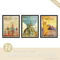 More Panel Digital printing Fashion Light Art Drawings Vintage World Cities Set Modern Handpainted Travel Picture Pop Retro Poster Prints Wall Decor Custom DIY Canvas Paintings
