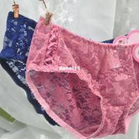 Wholesale Decleor fine mesh gauze sweet little sexy bud ultra low waist Ms Meng little princess wind underwear Ribbon