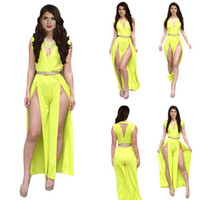Polyester Short Sleeve Long Celebrity Yellow Prom Special Occasion Girl Dress New 2014 Woman Bodycon Bandage Long Trousers Set Summer Casual Jumpsuit