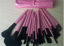 Wholesale 2014 Hot set Professional Makeup Brushes Cosmetic Brushes with Pink Leather packing