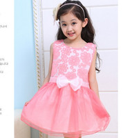 TuTu Summer Pleated Retail girl birthday dress 2014 children dress girls dress Princess Big bowknot dress for summer free shipping