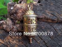Pendant Necklaces prayer box charm - TGB074 Tibetan brass Mantras Spin Prayer wheel box GAU amulet charms pendant OM MANI PADME HUM