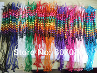 Cheap Wholesale 100pcs Mixed Color Thread HandMade Wooden Beads Friendship Bracelet A5742
