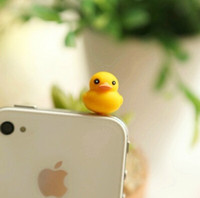 Wholesale Hot Sales Small yellow duck phone dust plug Headphone plug iphone4 s htc Samsung Dust plug All mm hole