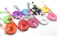Wholesale Flat USB Data Charging Cable pin Micro USB Sync Charger Line for Samsung HTC pin M M M